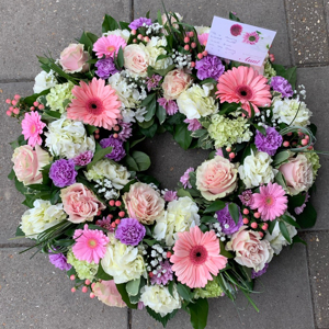 Pink And White Rose And Gerbera Wreath