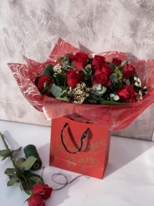 12 Red Roses In Bag