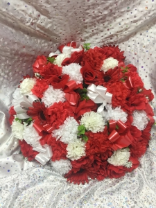 Red And White Silk Wreath