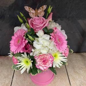 Pink, White And Cream Hat Box