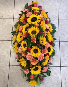 Sunflower, Rose And Carnation Coffin Spray