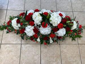 Red And White Hydrangea Coffin Spray