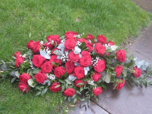 4ft Red Rose Coffin Spray