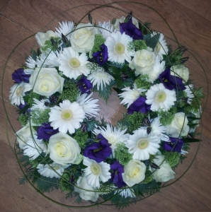 Wreath In White & Purple