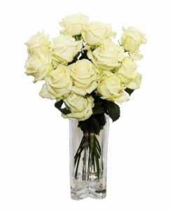 Dozen Luxury White Roses