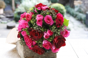 Hot Pink And Red Posy