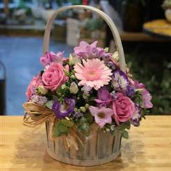 Basket: Pink And Lilac