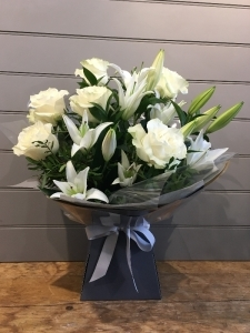 Rose And Lily Handtied Wh