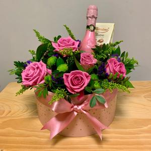 Fizz & Chocs Hatbox Flowers