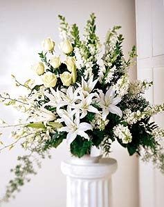 All In White Funeral Arrangement