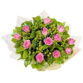 Aqua Bouquet Of 12 Beautiful Pink Roses