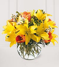 Asiatic Lilies In Sphere Vase