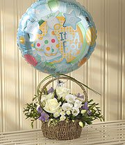 Baby Boy Flowers With Balloon