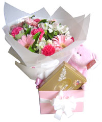 Baby Gift Basket With Flowers