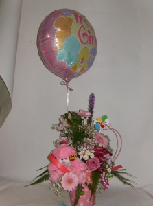Baby Girl Arrangement In Container With Helium Balloon