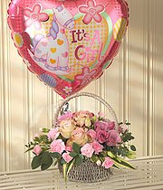 Baby Girl Flowers Basket & Balloon