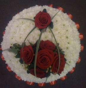Based Red And White Funeral Posy
