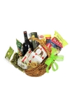 Basket Of Goodies & Red Wine