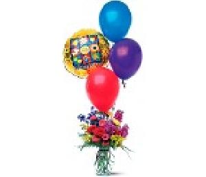 Bithday Arrangement With Balloons