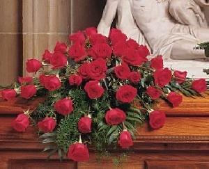 Blooming Red Rose Casket