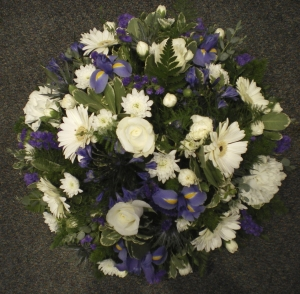 Blue And White Funeral Posy