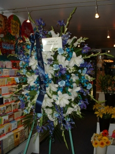 Blue And White Standing Spray For Sympathy