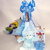 Bouquet In A Basket For A Baby Boy
