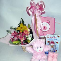 Bouquet In A Basket For A Baby Girl