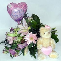 Bouquet Of Flowers, Balloon And Soft Toy For A Baby Girl