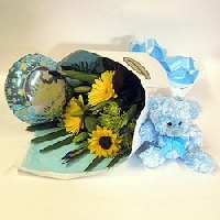 Bouquet Of Flowers With Soft Toy And Balloon For A Baby Boy