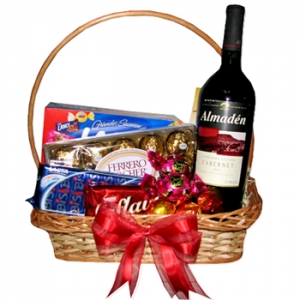 Chocolates With Wine Basket