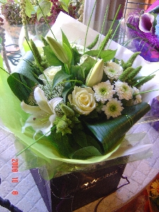 Classic Greens And Creams Aqua Hand Tied Bouquet