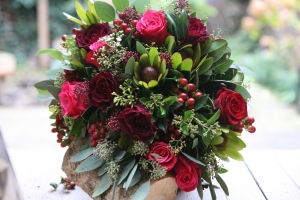 Deep Red And Pink Posy