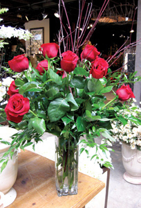 Dozen Roses In Tall Vase
