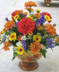 Fall Pedestal Bowl Arrangement