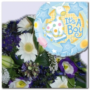 Flowers And Balloon For A Baby Boy.