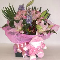 Flowers In Vox Box With Soft Toy For A Baby Girl