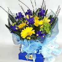 Flowers In Vox Box With Soft Toy For A Boy