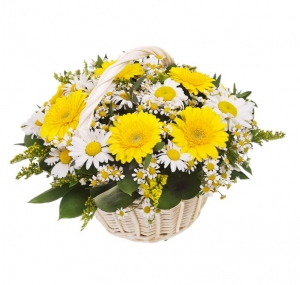 Basket of yellow and white flowers