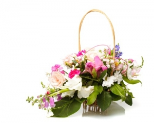 Basket of pink and white flowers