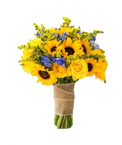 Bouquet of sunflowers and blue flowers
