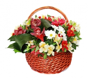 Basket of red and white flowers