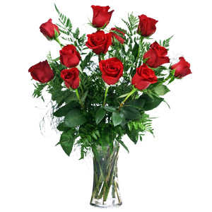 12 Long Stem Roses In Vase