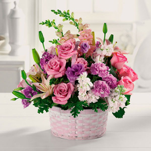 Basket Of Gladness In Pink