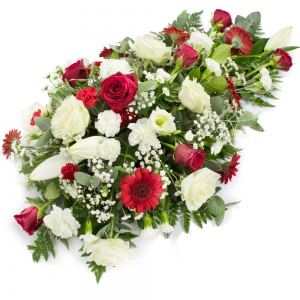 Order Coffin And Casket Floral (Red & Cream) flowers