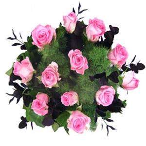 Bouquet with a Dozen Pink Roses