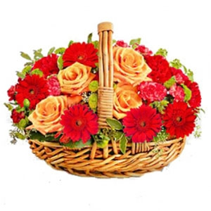 Gerbera and Roses Basket