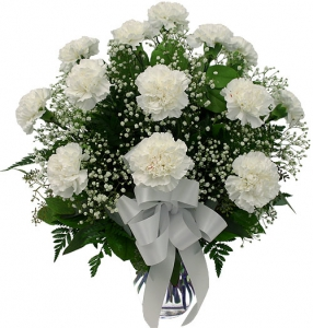 One Dozen White Carnations