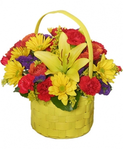 Order Bright and Sunny Basket flowers