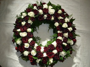 Formal Traditional Wreath - Red & White Roses